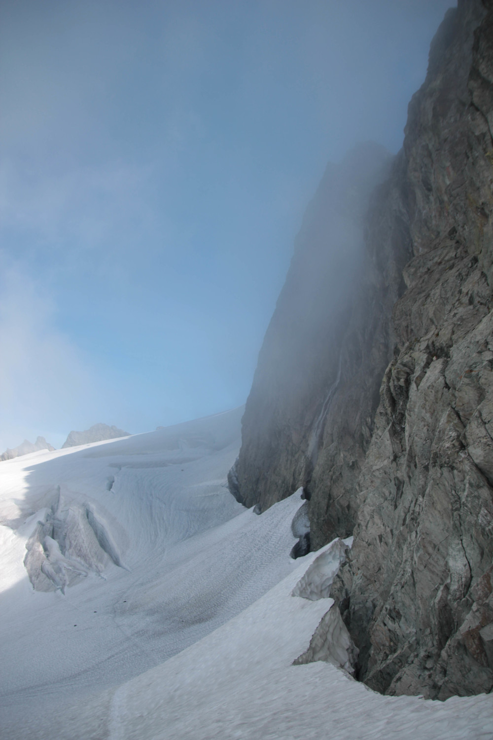 Looking back on some huge crevasses on the Upper Curtis and a huge waterfall coming down on the right.