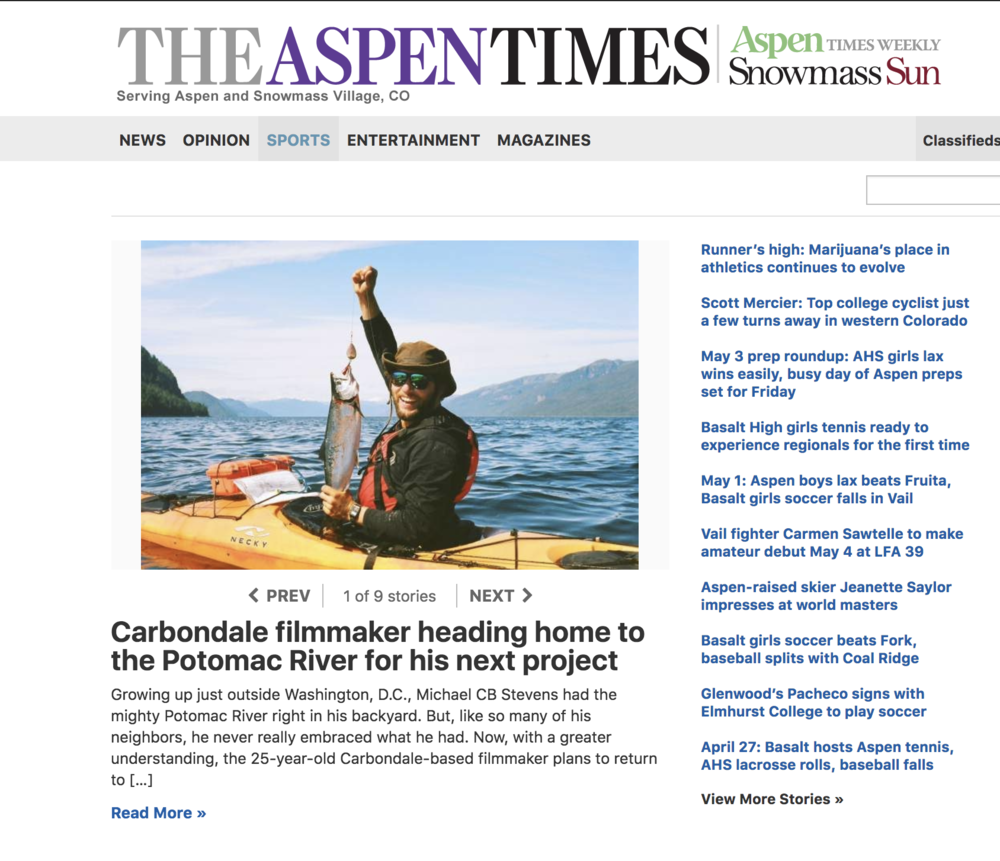 READ THE FULL ARTICLE HERE: - https://www.aspentimes.com/news/sports/carbondale-filmmaker-heading-home-to-the-potomac-river-for-his-next-project/