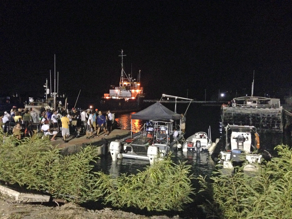 "The crew of ""Mad Dogs"" getting ready to film the scene using the Midnight Stone"