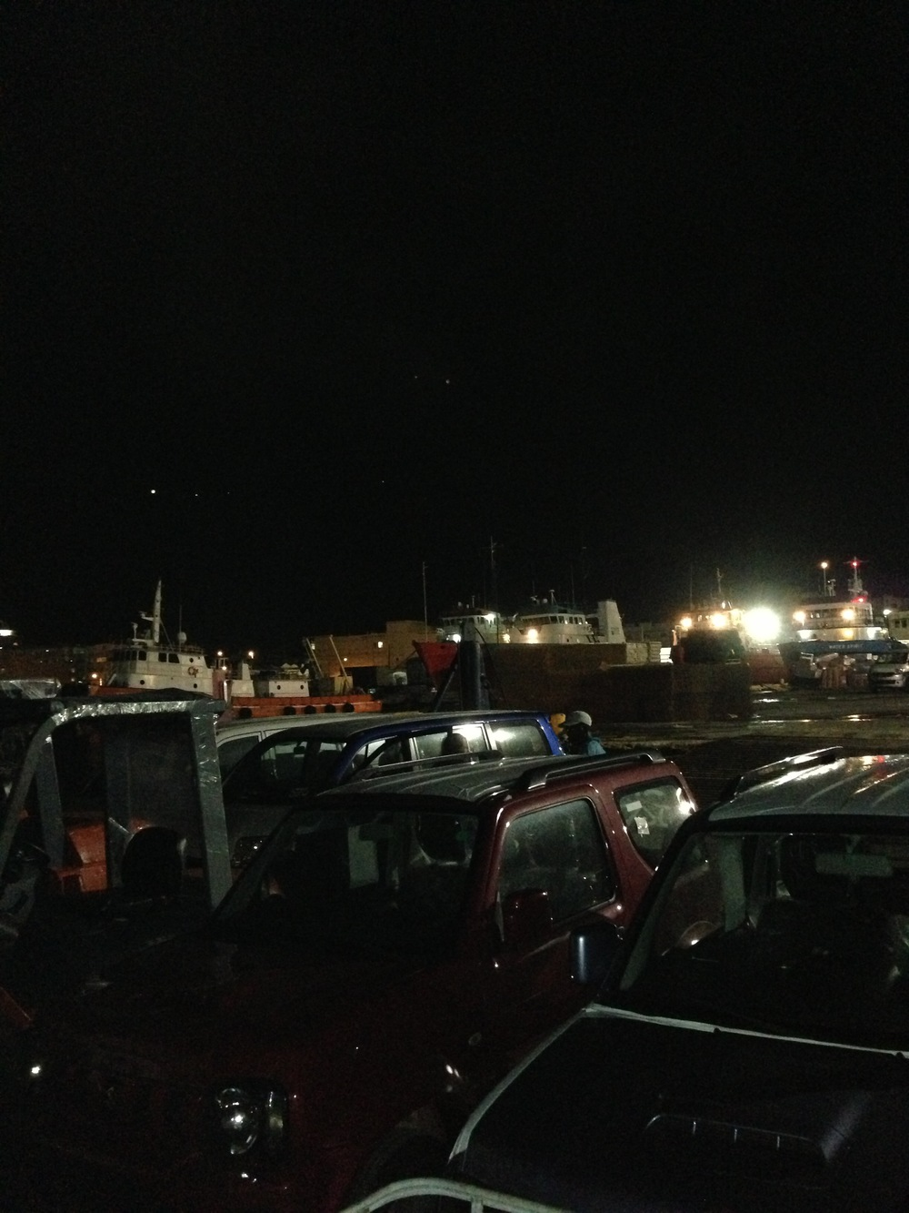 Cars loaded on deck for overnight export to Tortola