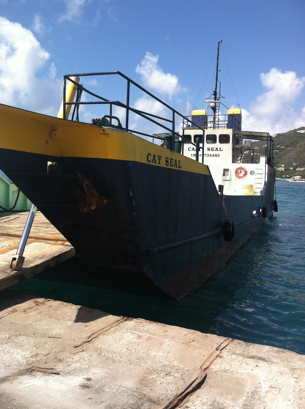 The Cay Seal is a bow ramp vessel which can load and unload cargo in very shallow water.