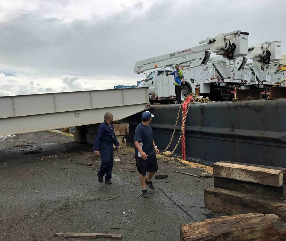 Luckily Crowley Maritime had this massive steel ramps that we could use for unloading the equipment.