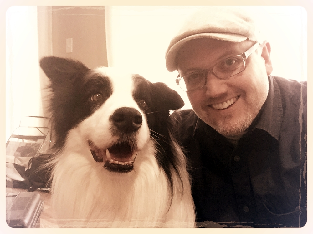 "6 STRONG MEDIA Executive Producer Kris Simmons and ""Fetch"" hanging out on the ""Mess-Maker Approved"" set."