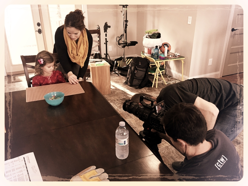 IVC's Angelina Cebrian keeps little Angelina (our mini-actress) engaged while the 6 STRONG crew makes a few tweaks. Isn't she adorable?