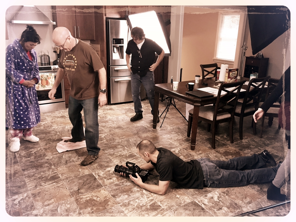 6 STRONG MEDIA's Chris Braly (VP, Production) and Johnny Stockman (Creative Director) prepping the kitchen floor for another spill shot.