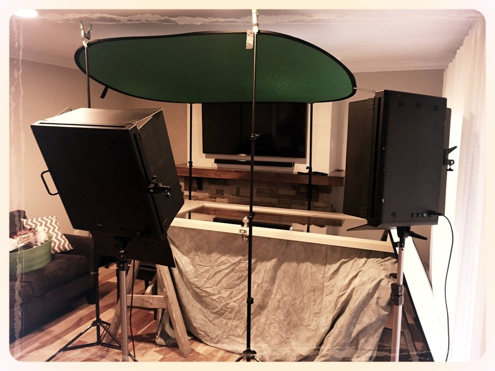 "This is the rig we built to pull off the floor's ""point of view"" shots at the end of the video. Don't tell, but that's the door to our CEO's office!"