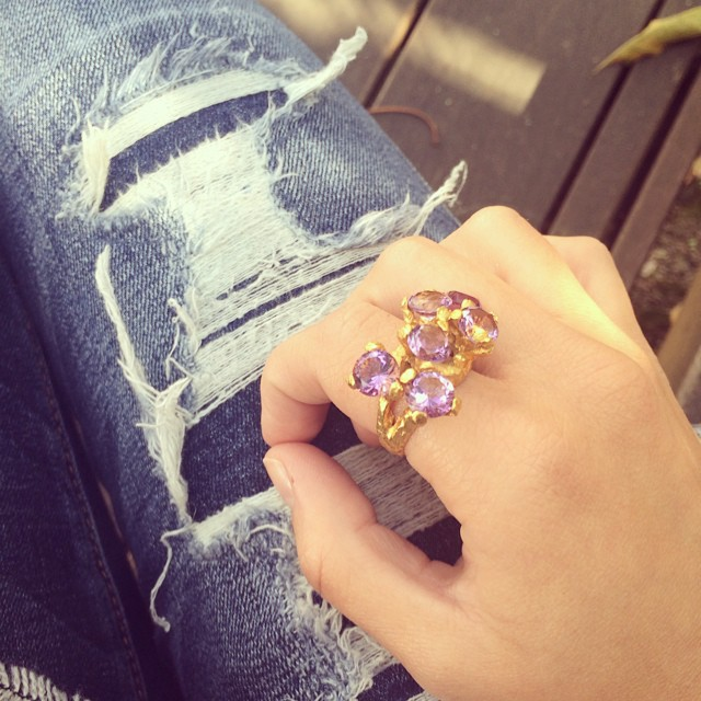 All time fave 💜 #amethyst #ring #ezkarren #purple #semiprecious #stones #gold #jewelry