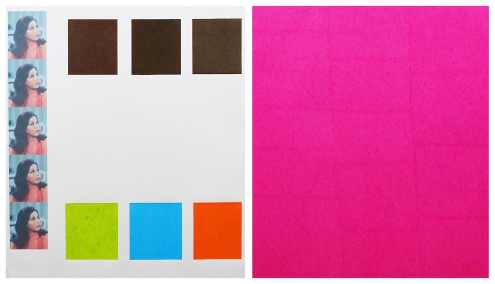 David X. Levine   Grace (Pink)  2014 colored pencil and collage on paper (diptych) 60 x 104 in
