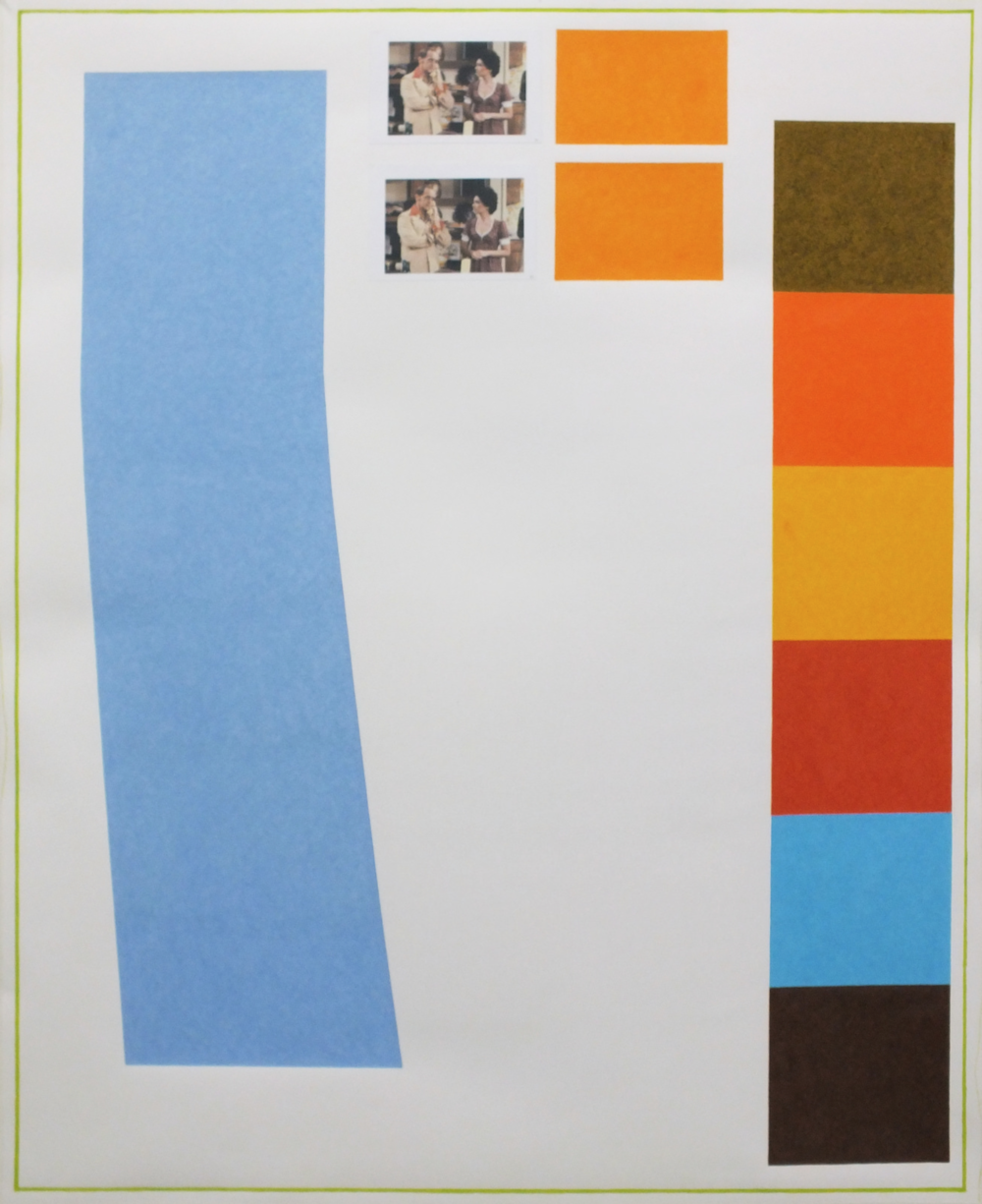 David X. Levine   Bob Newhart  2014 colored pencil, collage, graphite on paper 38 x 48 in