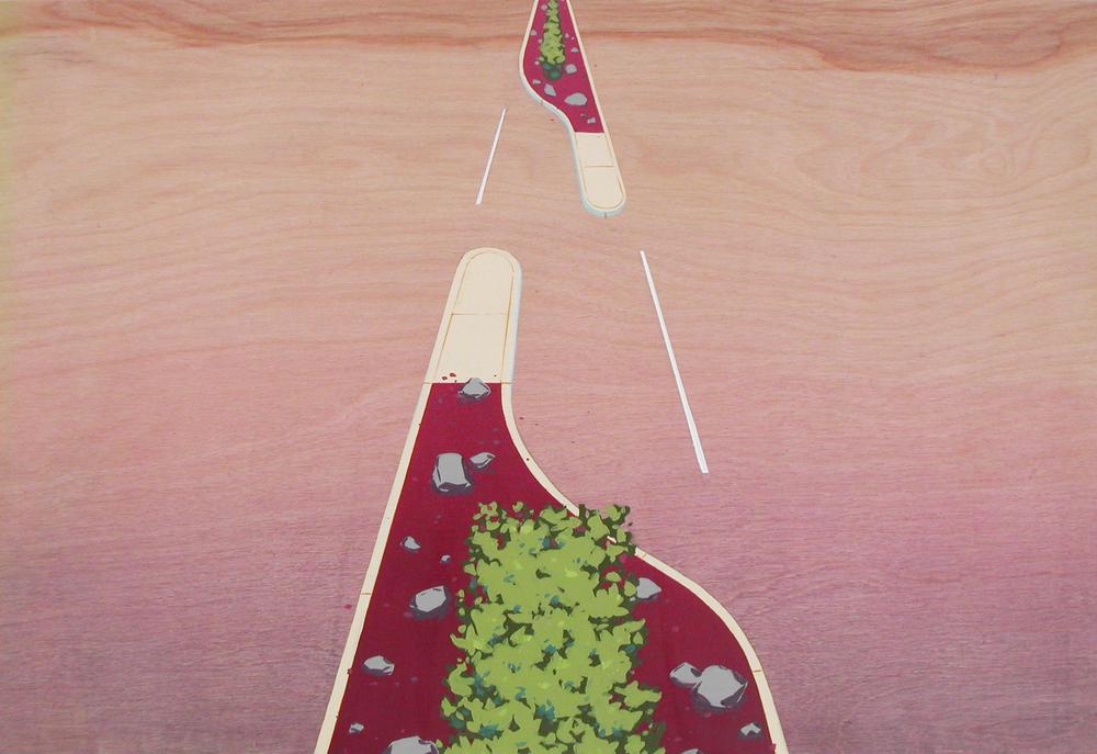 Chris Ballantyne   Median (Turn Lane),  2014 acrylic on panel 12 x 18 in