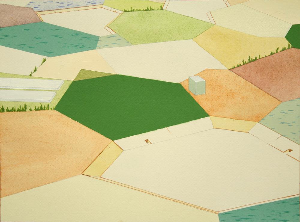 Chris Ballantyne   Fields,  2015 acrylic on paper 9 x 12 in