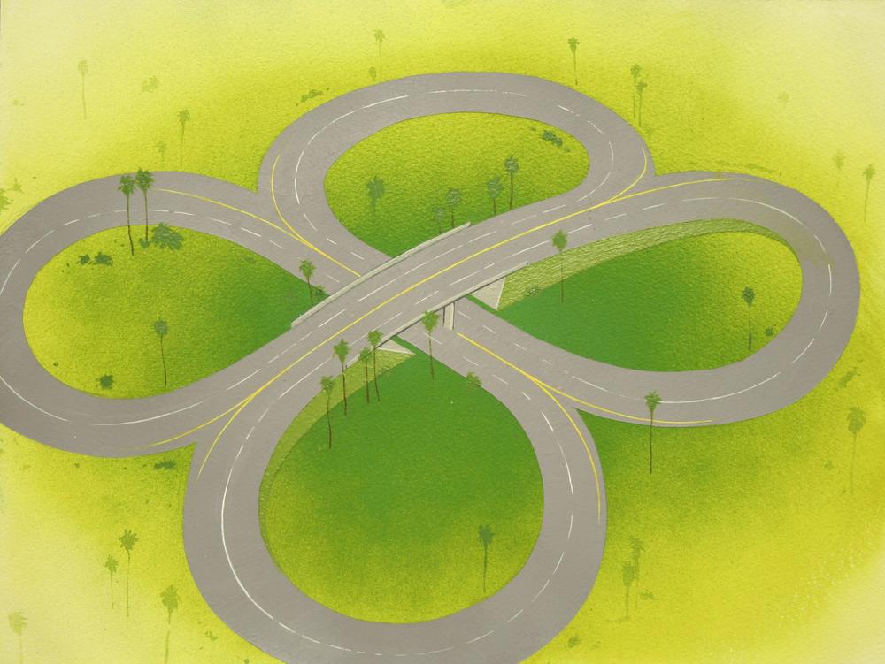 Chris Ballantyne   Interchange,  2015 acrylic on paper 12 x 16 in