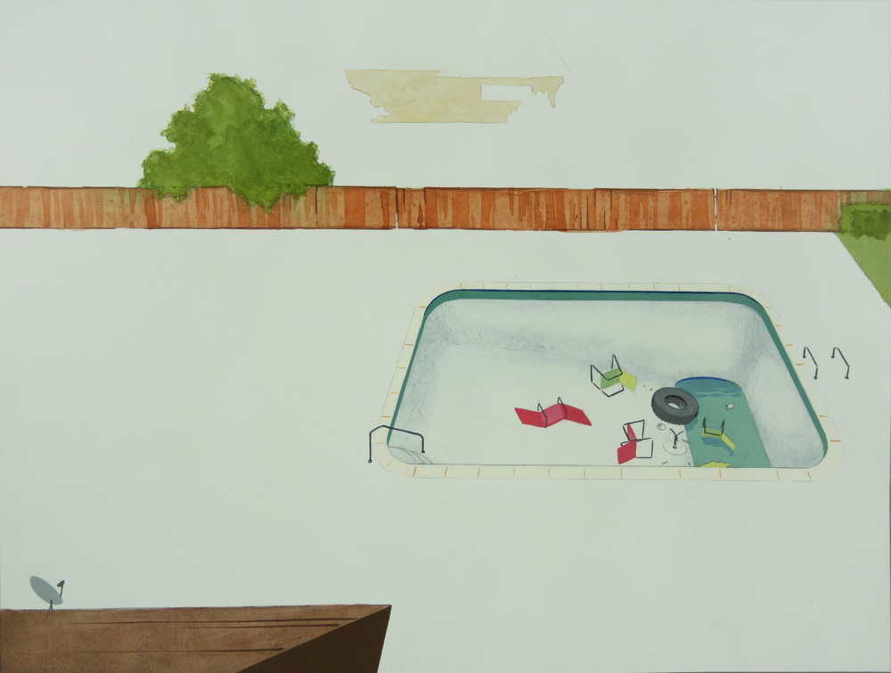 Chris Ballantyne   Pool (Party),  2013 acrylic on paper 12 x 16 in