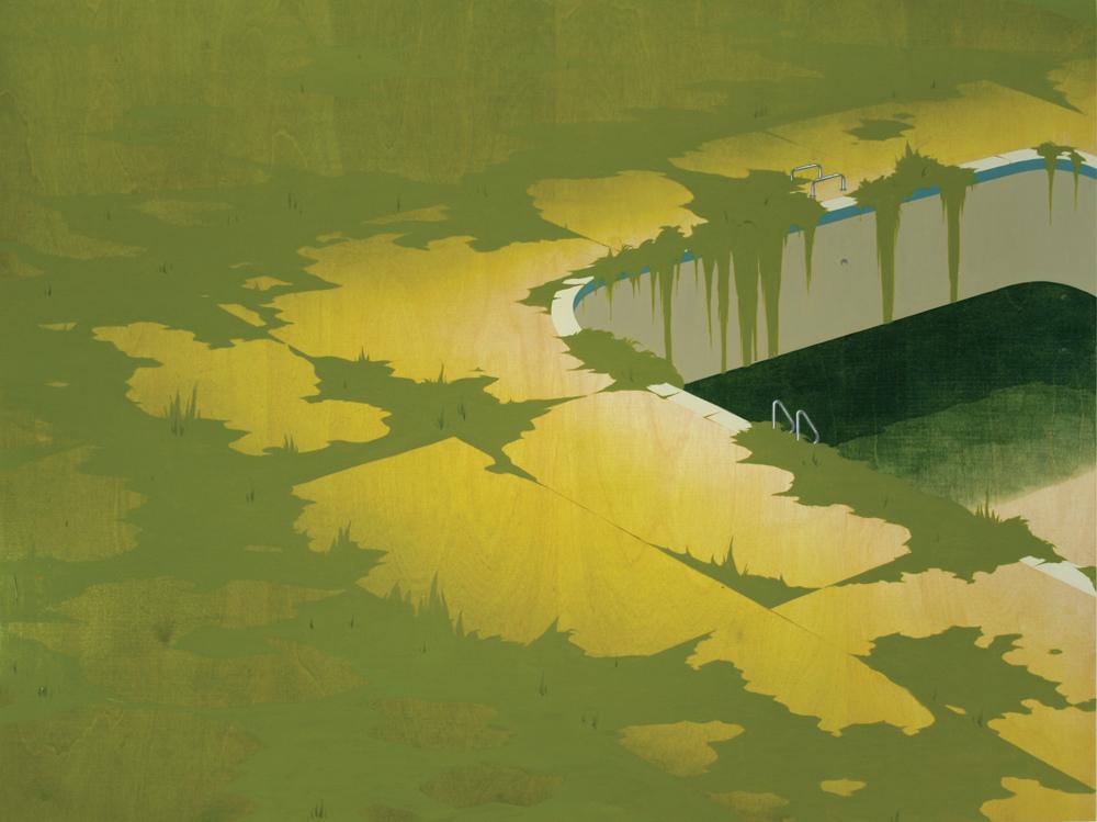 Chris Ballantyne   Pool Overgrown  acrylic on panel 36 x 48 inches