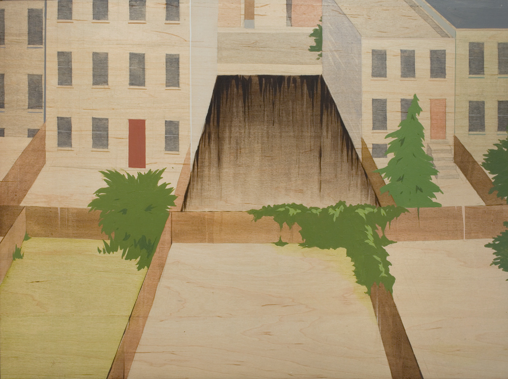 Chris Ballantyne   Empty Lots (Backyards)  2008 acrylic on panel 24 x 32 inches