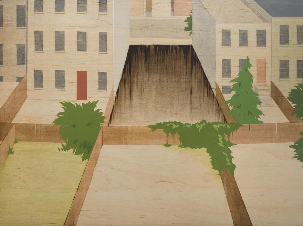 Chris Ballantyne   Empty Lots (Backyards),  2008 acrylic on panel 24 x 32 inches