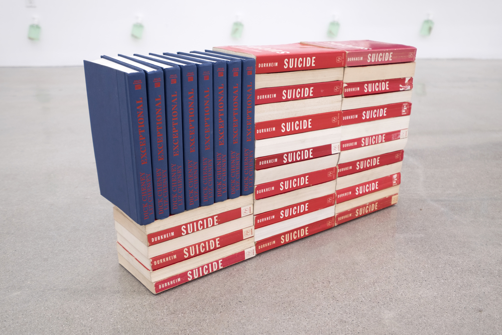 Eric Yahnker   Exceptional Suicide  2015 books 14 x 25 x 6.5 in.