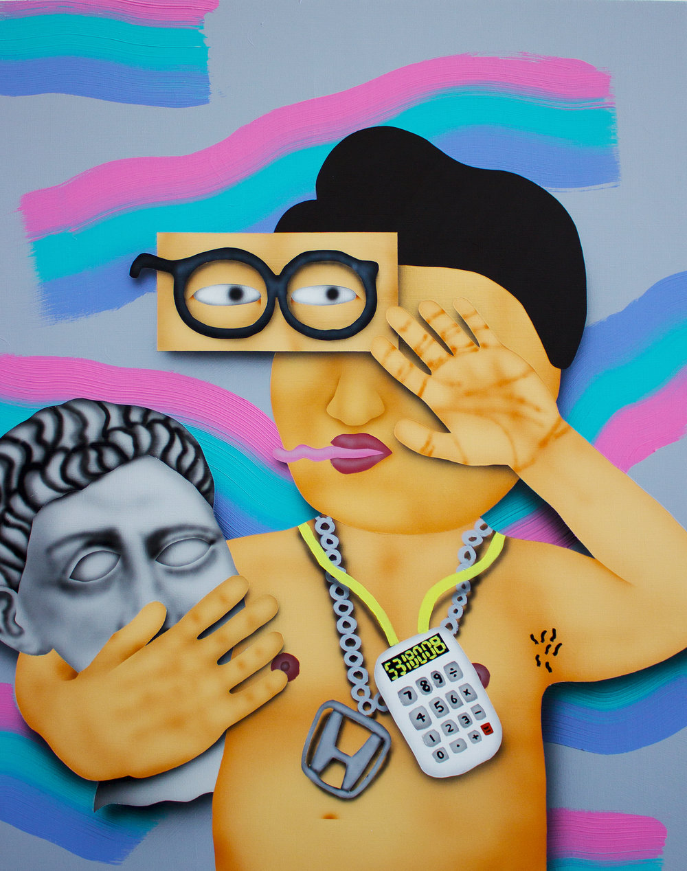 Sean-McGee Phetsarath  Get Turnt With The Math Club , 2016 Acrylic on Wood Panel 30 x 24 in.