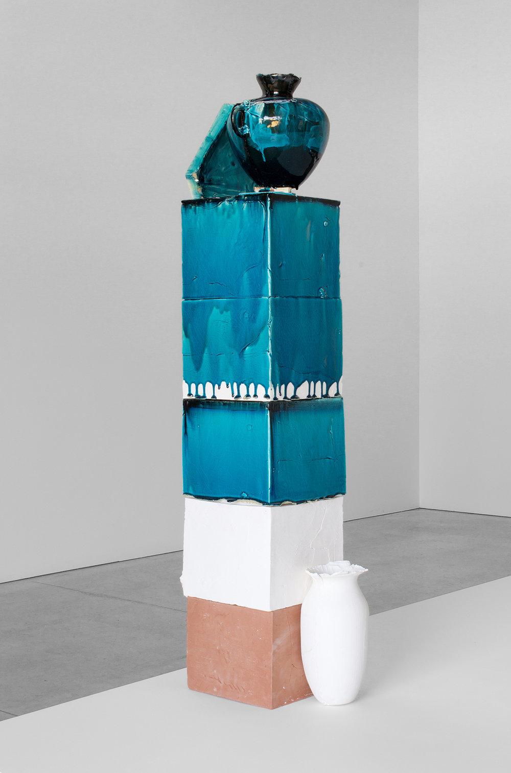 Nicole Cherubini  STELLA,  2016 Earthenware, terra-cotta, glaze, sculpt, pc-II, ink, kiln furniture 68.5 x 18 x 20 in.