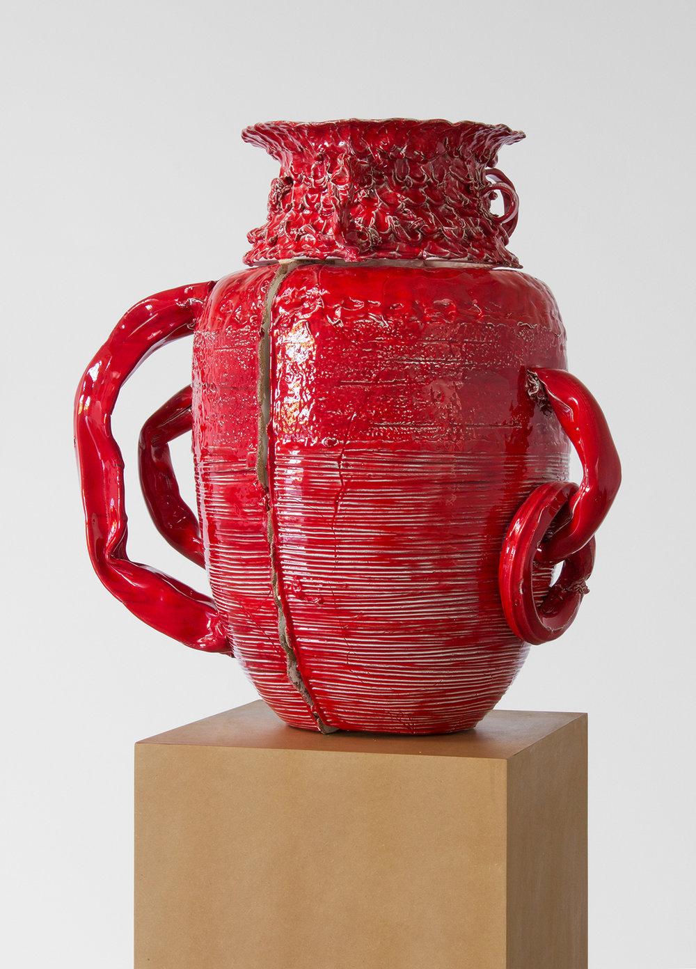 Nicole Cherubini  Pot, S. Haze,  2016 Earthenware, glaze, decals, pc-II, model magic, acrylic, medium-density fiberboard 69.5 x 28 x 22.5 in
