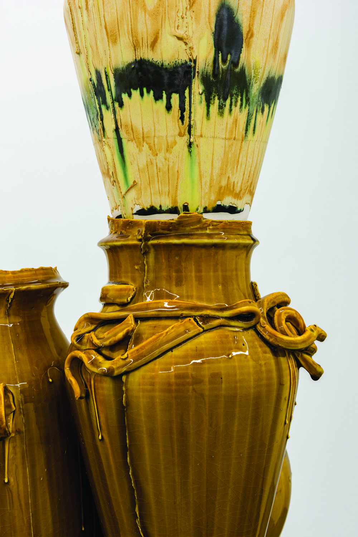 Nicole Cherubini Detail of  Althean,  2015 Earthenware, glaze, medium-density fiberboard, magic sculpt, 5 min epoxy 75 x 19 x 22 in.