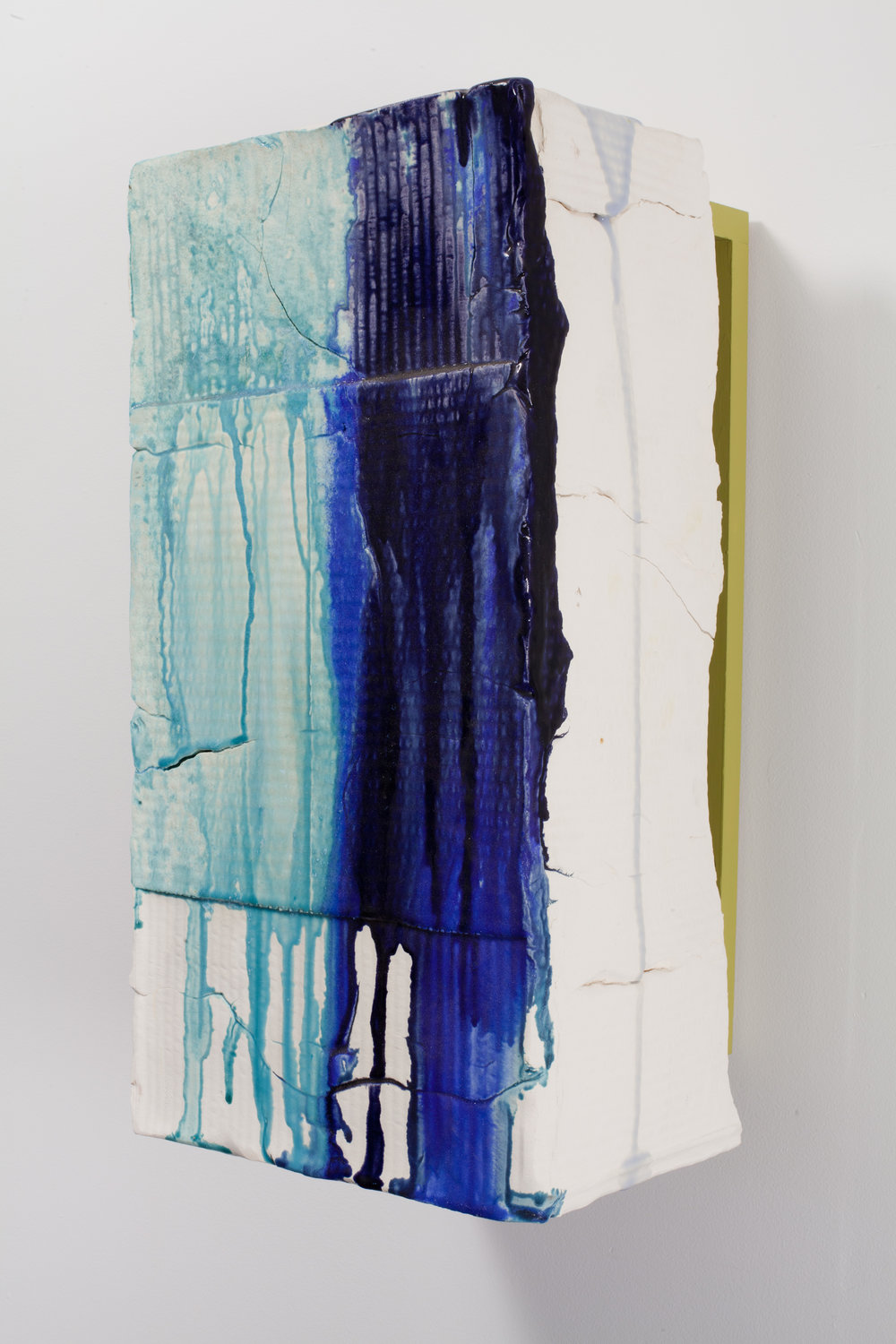 The Blues, I  2011 Earthenware, glaze, pine, acrylic 23.5 x 11.5 x 10.5 in.