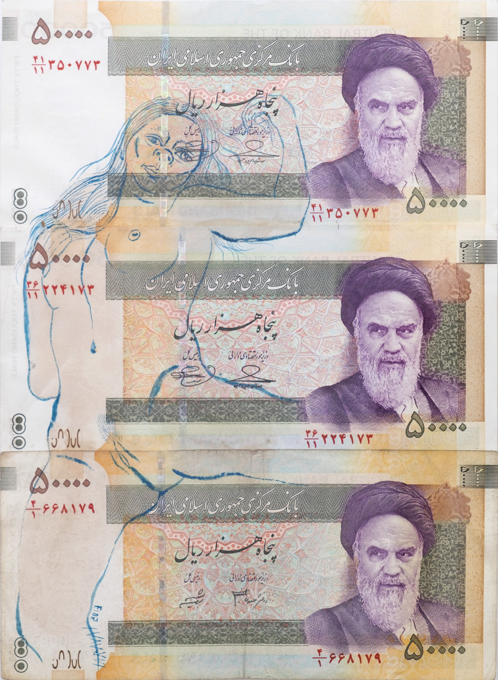 "Taravat Talepasand    Blasphemy VII , 2013   ""Flashing"" on Iranian Currency   22 x 15 in"