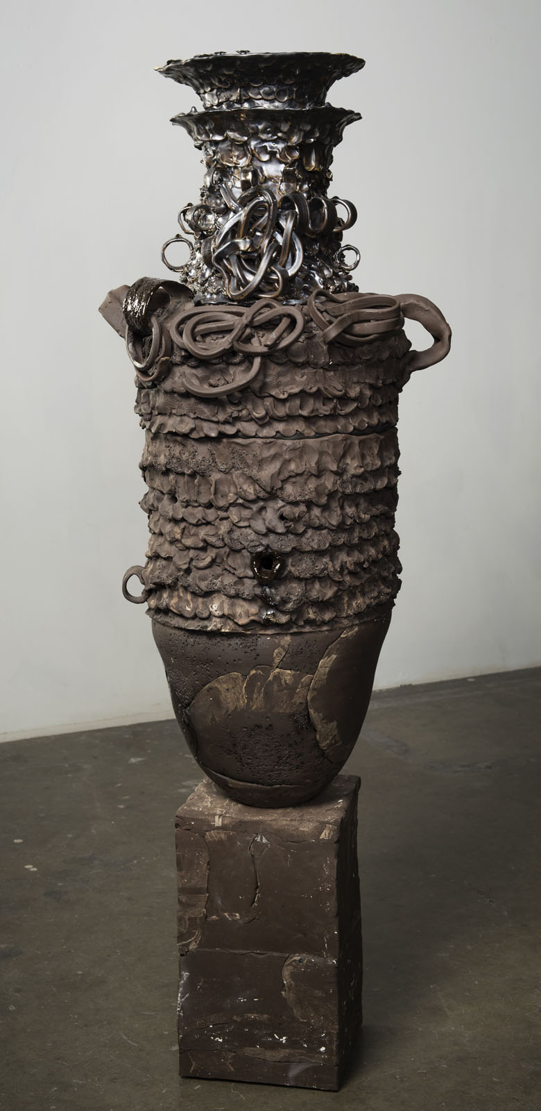 P.Pot #2, Sugar   2017  Brown earthenware, glaze, grog, magic sculpt, pc-7, epoxy, hardware  57.5 x 19.5 x 18 inches