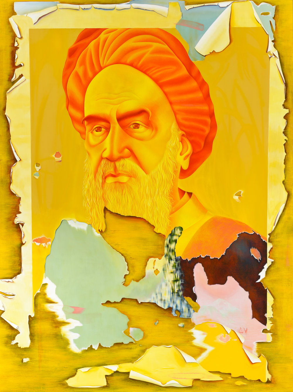 Taravat Talepasand  Khomeini , 2015 egg tempera and oil on linen 48h x 36w in.
