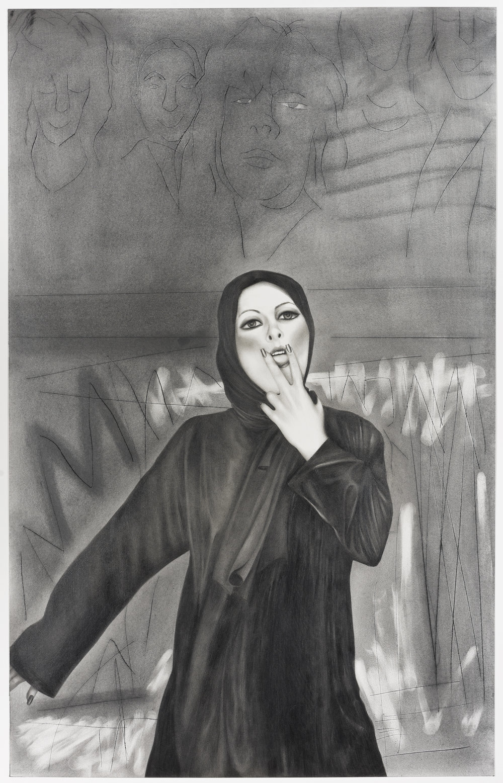 Taravat Talepasand  Blasphemy VIII , 2016 graphite on paper 22h x 15w in.