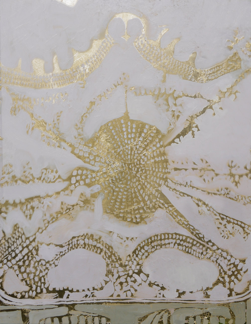 Kimberly Brooks  Ceiling of Gold , 2017 oil and gold leaf on linen 30h x 24w in.