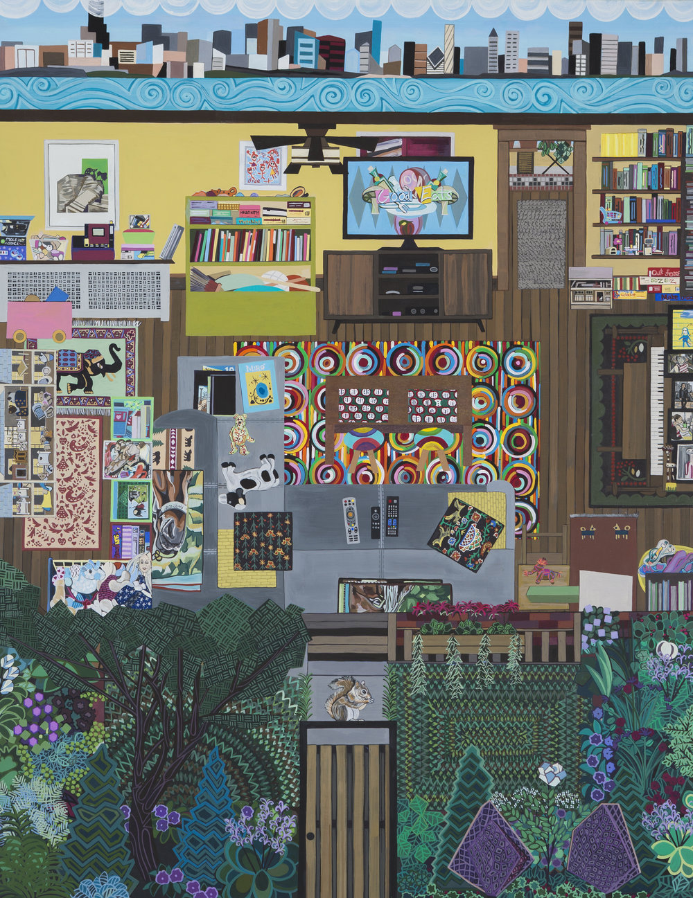 Ann Toebbe  Family Room (Artist) , 2017  gouache, pencil and paper collage on panel  28h x 22w in.