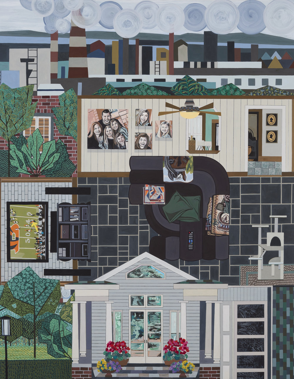 Ann Toebbe  Family Room (Sister) , 2017  gouache, pencil and paper collage on panel  28h x 22w in.