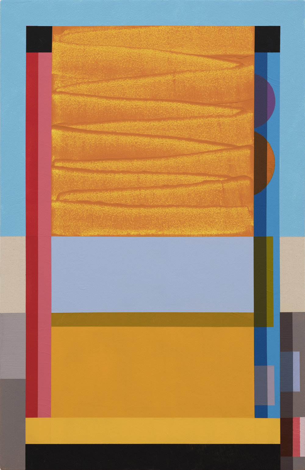 Tony Larson  Loading , 2018 flashe, acrylic, traffic marker paint on raw canvas 36h x 24w in