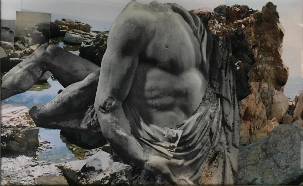 John O'Reilly  Dogtown Hartley Series , 2009 polaroid, color coupler, halftone montage, gelatin silver print  11.50h x 18.75w in