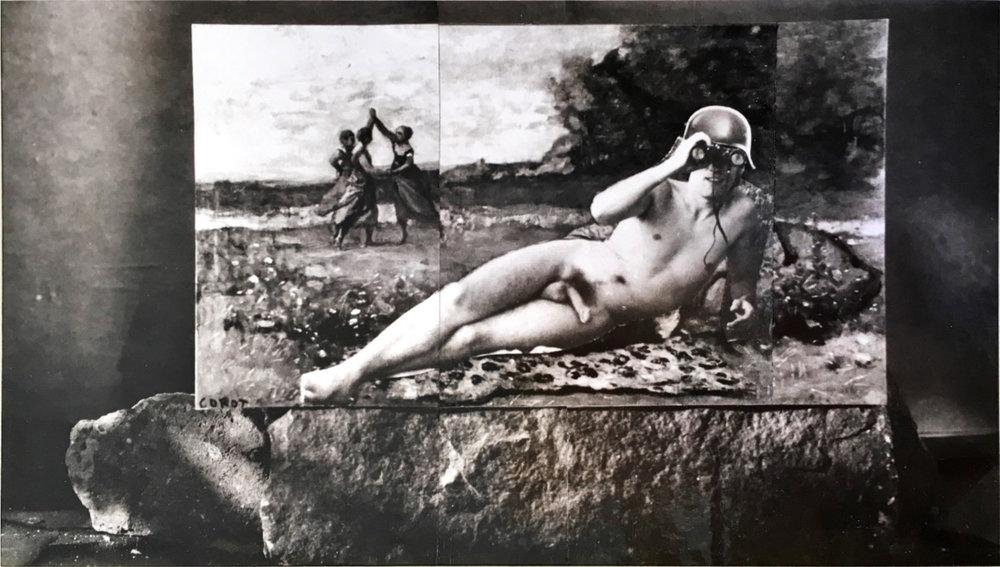 John O'Reilly   Lackner #5 , 1995  polaroid montage  3.75h x 6.50w in