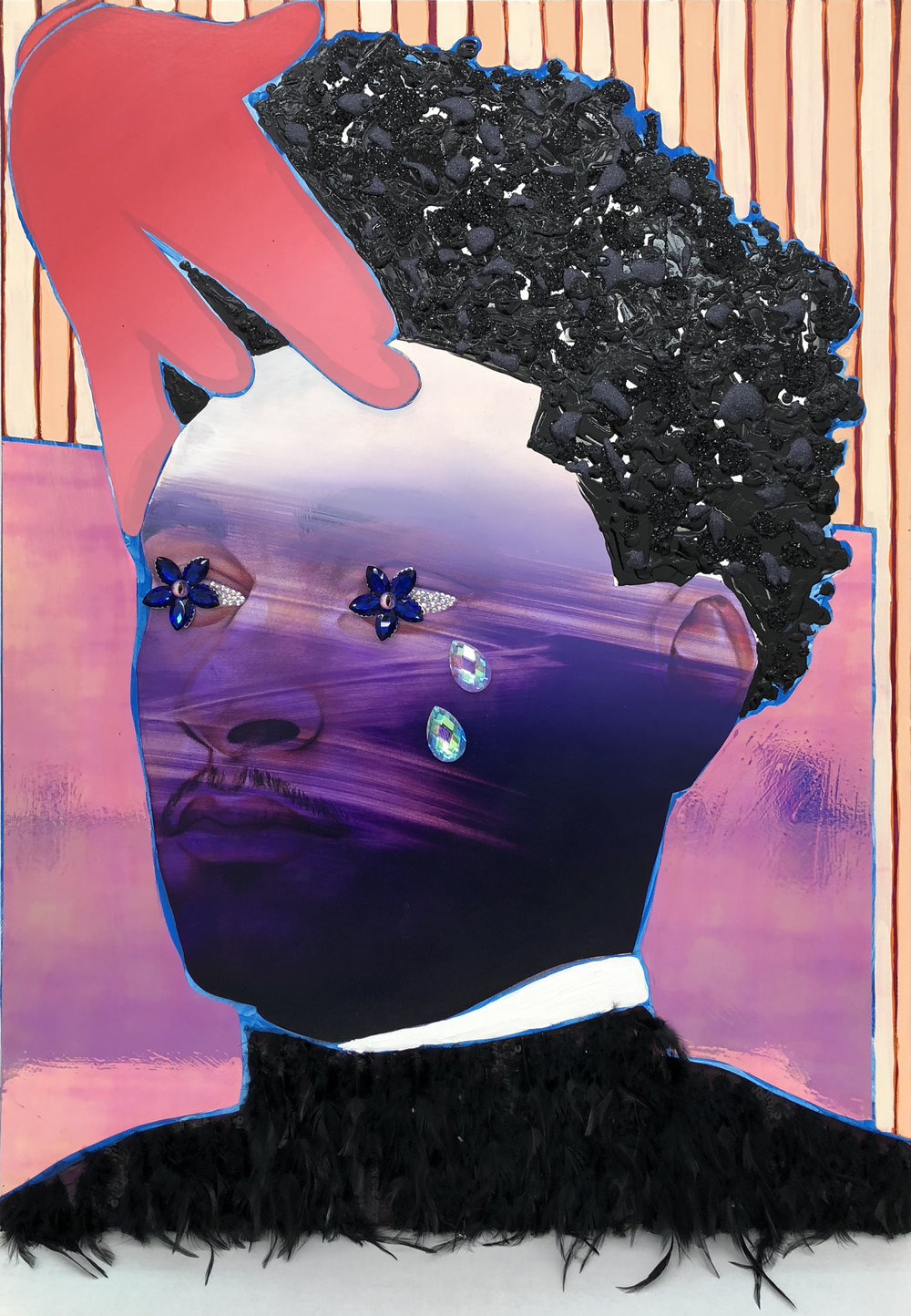Devan Shimoyama  A Gentle Push , 2018 mixed media on canvas stretched over panel 30h x 40w in