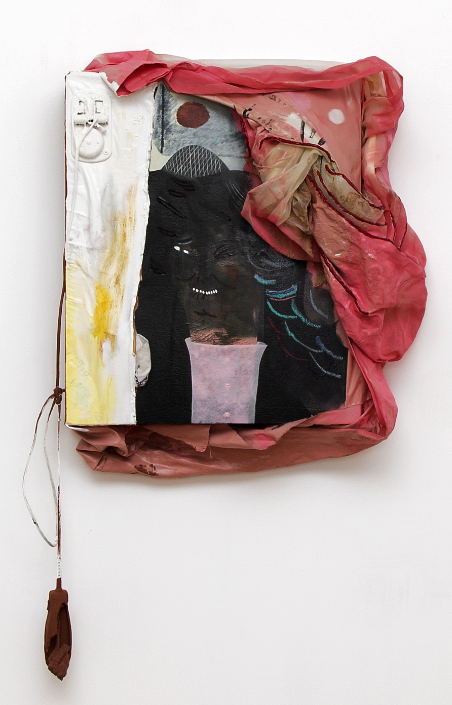 Kenny Rivero  Lady Lookin , 2014 oil, acrylic, crayon, doorbell, hair clippers, a polyester curtain, and color pencil on a canvas wrapped panel. radio playing static 45h x 27w in