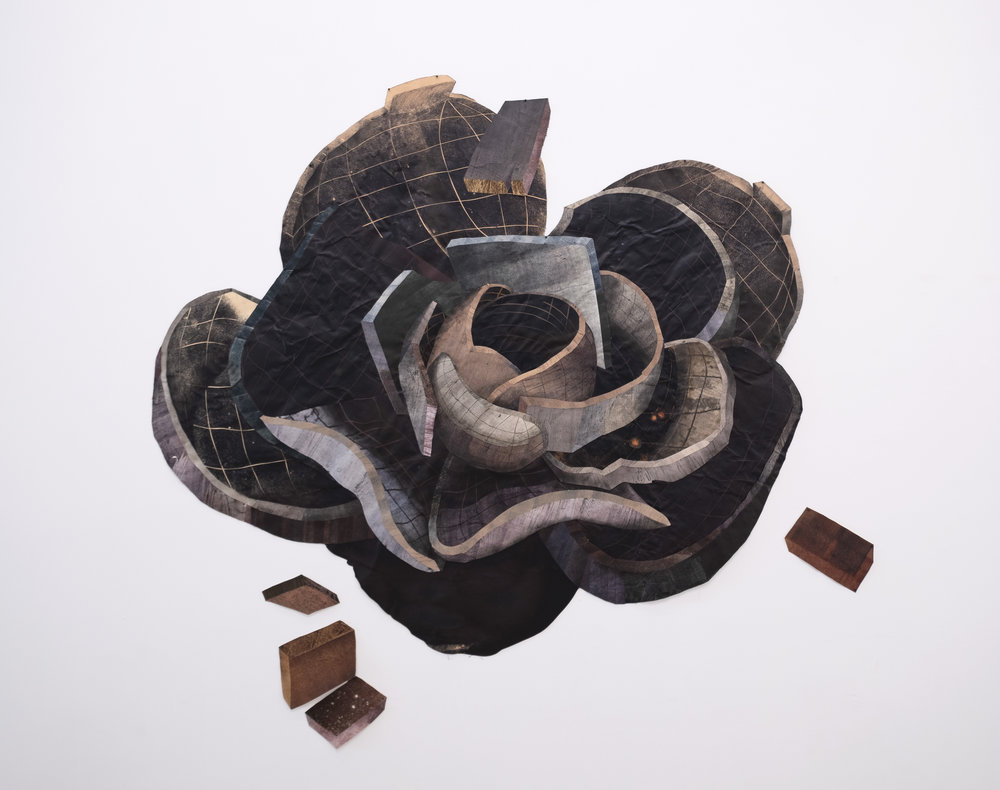 Yashua Klos  Moon Flower , 2016 paper construction of woodblock prints on canvas  65h x 70w in