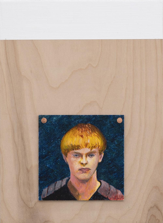 Steve Locke  Dylann (bulletproof) , 2018 egg tempera on panel, wood frame  15.75h x 11.50w in