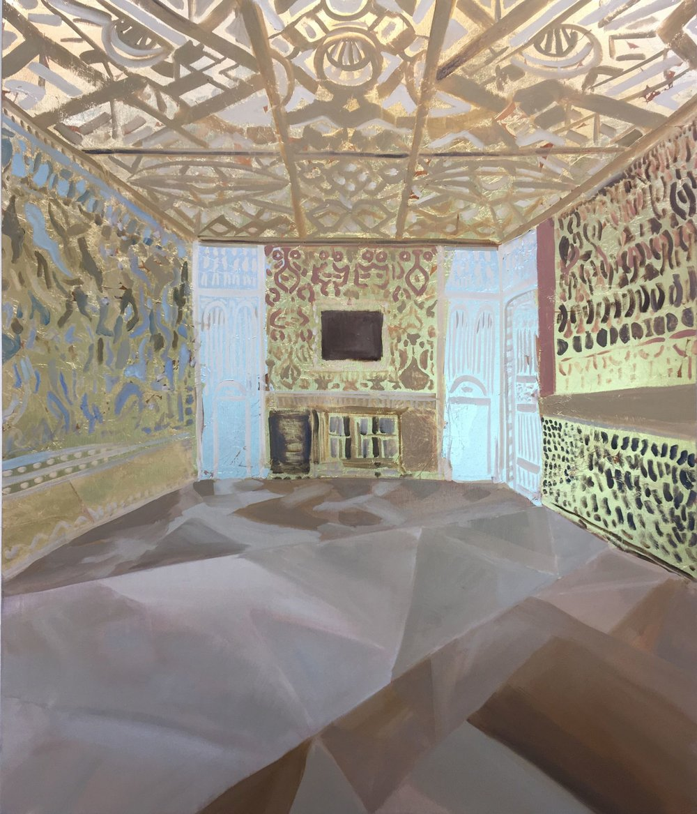 Kimberly Brooks  Russian Room,  2018 oil, gold and silver leaf on linen 42h x 36w in