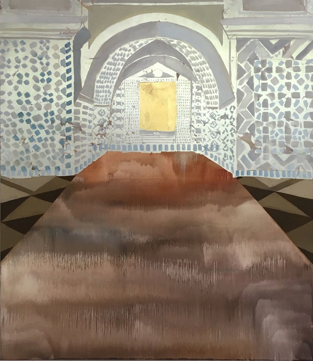 Kimberly Brooks  Jerusalem , 2018 oil, gold and silver on 60h x 52w in