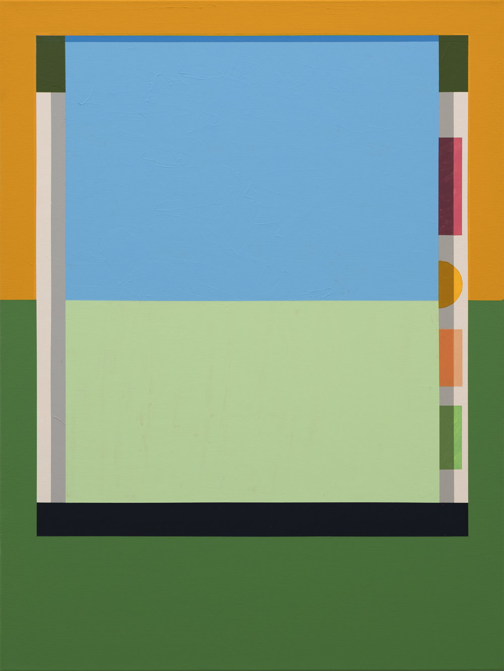 Tony Larson  Yawn Mower , 2018 flashe, acrylic, traffic marker paint on canvas 40h x 30w in