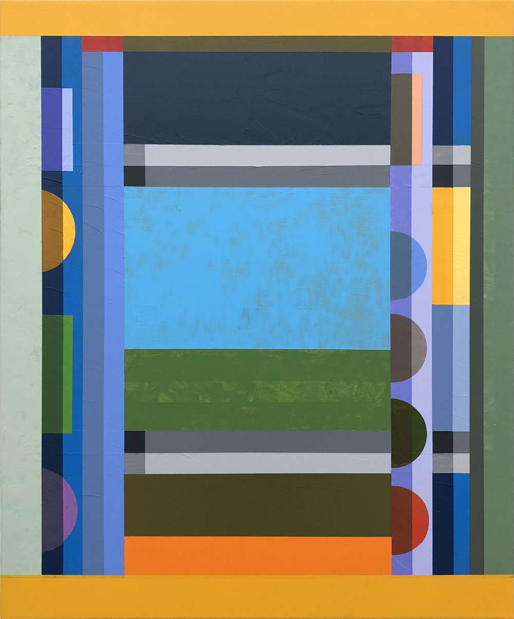 Tony Larson  Screen , 2018 flashe, acrylic, traffic marker paint on canvas 30h x 25w in