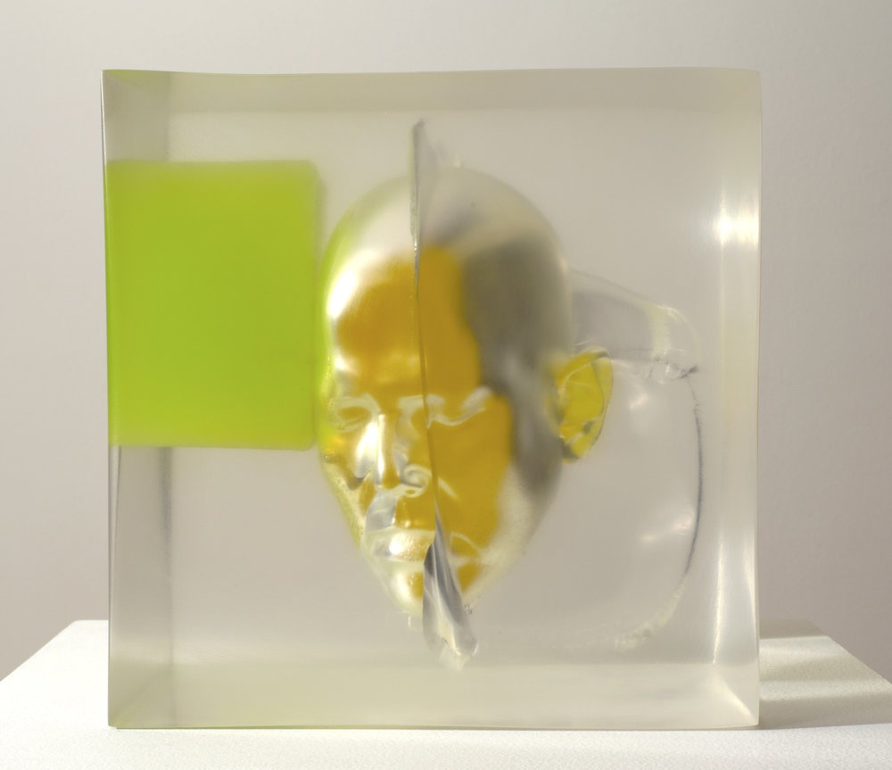Rona Pondick  Encased Yellow Green , 2017-18 pigmented resin and acrylic 9 3/8 x 8 1/2 x 9 3/8 in