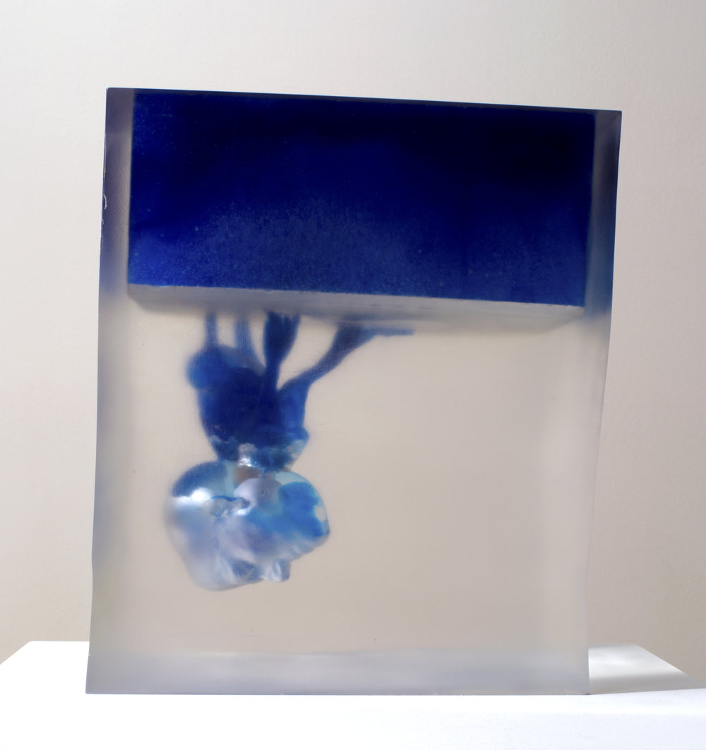 Rona Pondick  Upside Down Blue , 2014-17 pigmented resin and acrylic 13 3/8 x 9 7/8 x 11 7/16 in