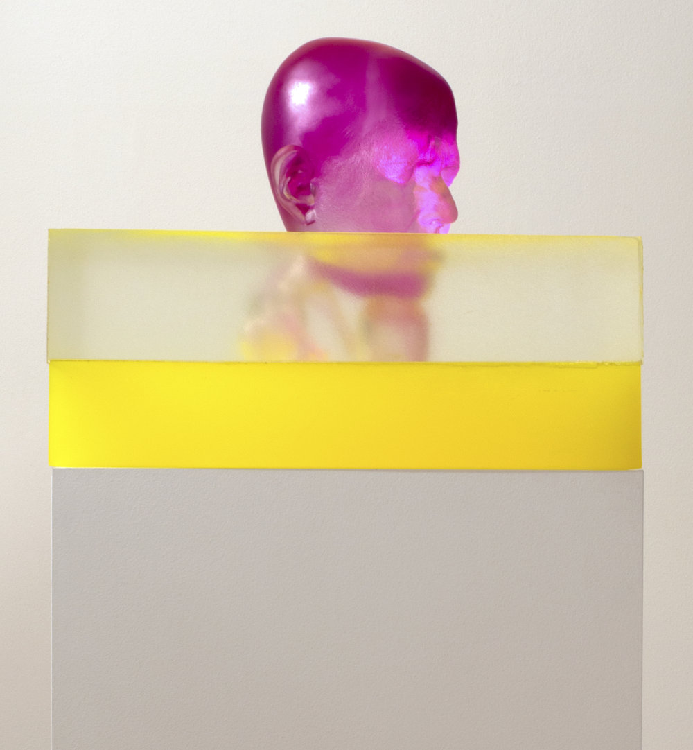 Rona Pondick  Magenta Swimming in Yellow , 2015-17 pigmented resin and acrylic 14 x 17 x 17 in
