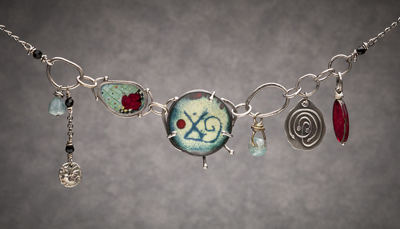 Symbols Necklace, enamel work and sterling