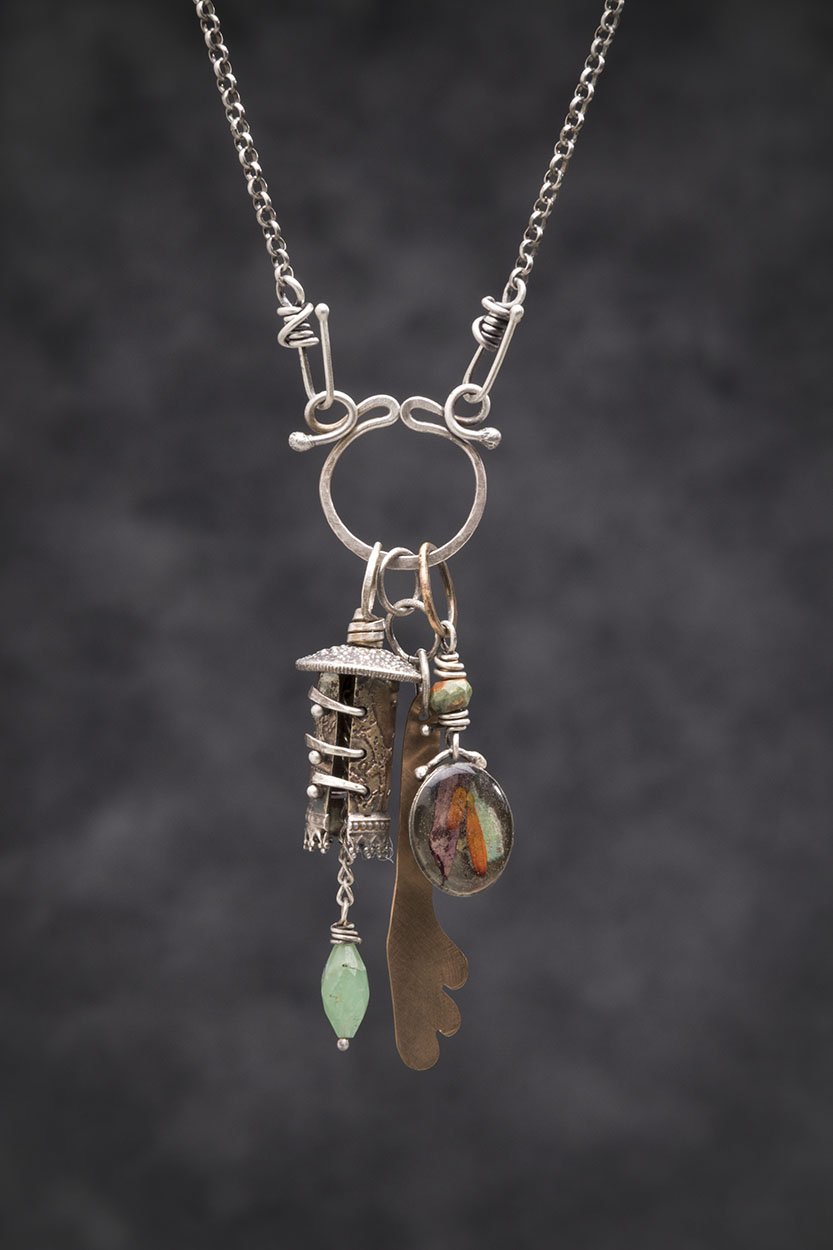 Celtic Bell Series: Sterling, Brass, Peruvian Opal, Bronze, Collaged Organics in Resin