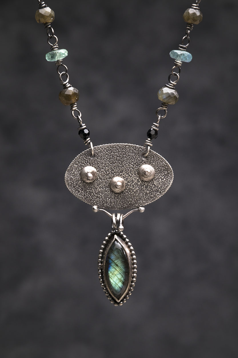 Three Moons Reticulated Silver, Labradorite. Fluorite